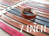 "7"" Thin Engraved Leather Country Bracelets"