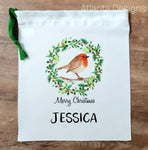 Personalised Christmas Stocking - Robin & Holly Wreath