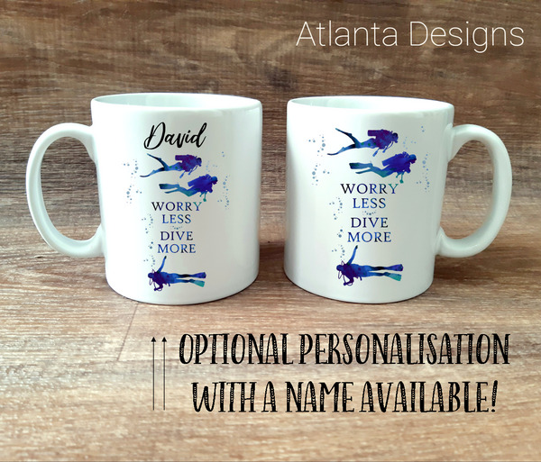 PERSONALISE ME! Scuba Diving Mug with Optional Coaster Upgrade
