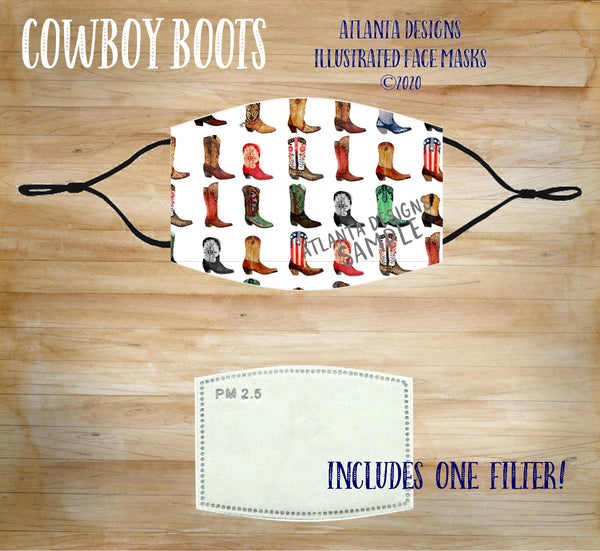Face Mask With Filter - Country Music - Cowboy Boots