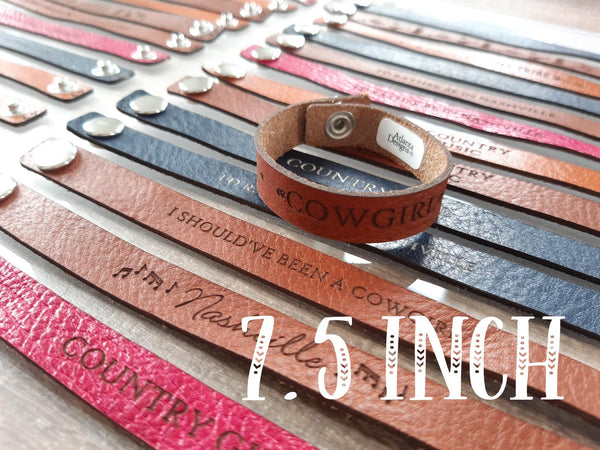 "7.5"" Thin Leather Country Bracelet"