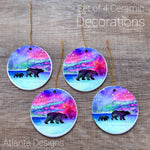 Northern Lights - Set of 4 Ceramic Hanging Decorations