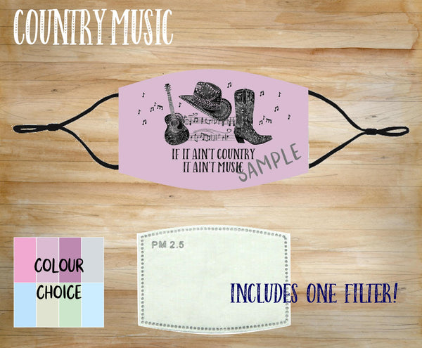 Face Mask With Filter - Country Music