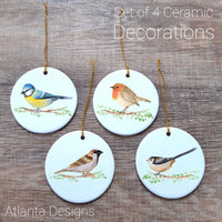 Garden Birds - Set of 4 Ceramic Hanging Decorations