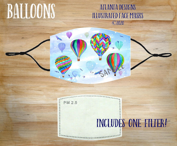 Face Mask With Filter - Hot Air Balloons