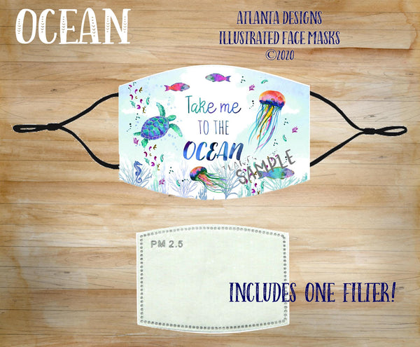 Face Mask With Filter - Ocean & Sealife