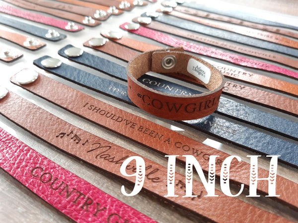 "9"" Thin Leather Country Bracelets - X-LARGE"
