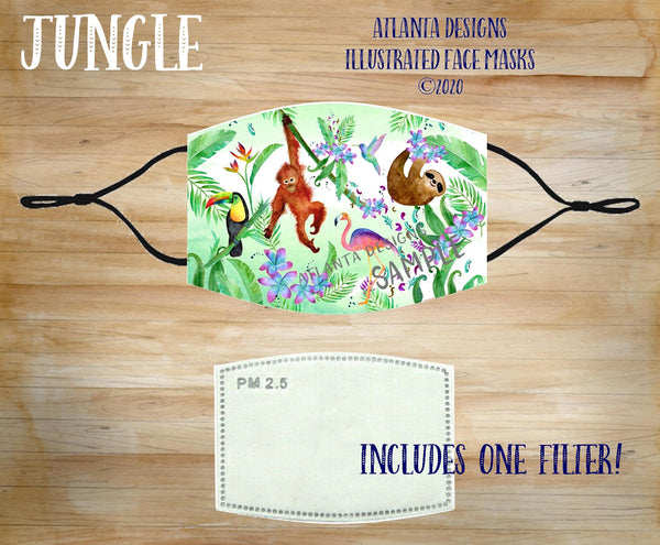 Face Mask With Filter - Jungle Animals