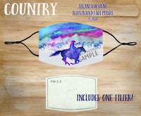 Face Mask With Filter - Country Music - Cowboy