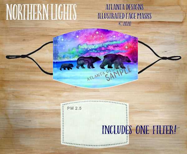 Face Mask With Filter - Northern Lights Bears