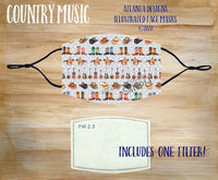 Face Mask With Filter - Country Music - Boots & Hats 1