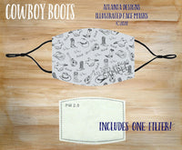 Face Mask With Filter - Country Music - Cowboy Boots & Hats