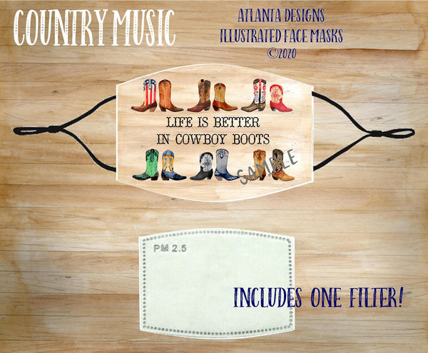 Face Mask With Filter - Country Music - Cowgirl Boots