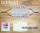 Face Mask With Filter - Country Music Pattern