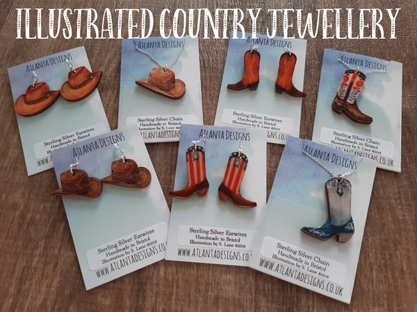 Illustrated Country Jewellery - Cowboy Hats & Boots