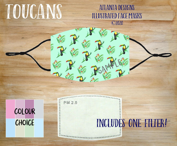 Face Mask With Filter - Tropical Toucans