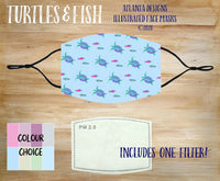 Face Mask With Filter - Turtles & Fish