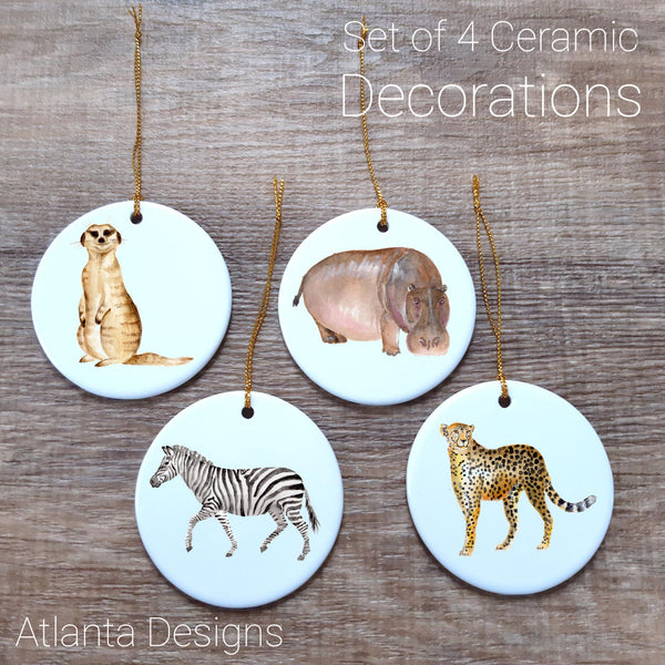 Safari #2 Set of 4 Ceramic Hanging Decorations