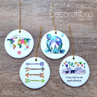 Adventure - Set of 4 Ceramic Hanging Decorations
