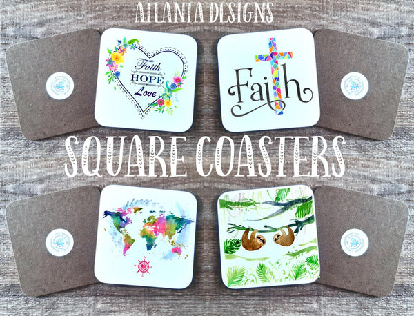 Over 190 Designs! Square Custom Made Coasters - GBF