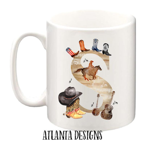 Personalised Name Mug - Country Music & Cowboy