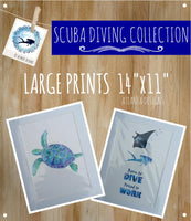 "SCUBA DIVING - Large 11x14"" Watercolour Prints"