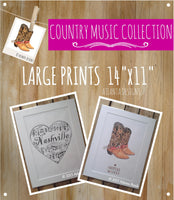 "COUNTRY MUSIC & COWBOYS - Large 11x14"" Watercolour Prints"