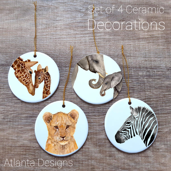 Safari #3 Set of 4 Ceramic Hanging Decorations