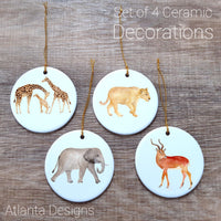 Safari #1 Set of 4 Ceramic Hanging Decorations
