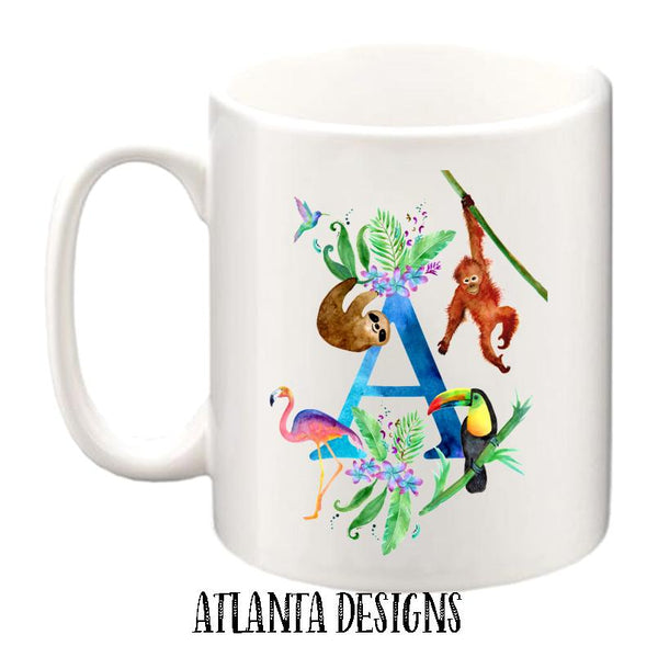 Personalised Name Mug - Sloth, Flamingo & Tropical Animals