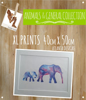 ANIMALS, BALLOONS & GENERAL - XXL Watercolour Prints - 40x50cm A3+