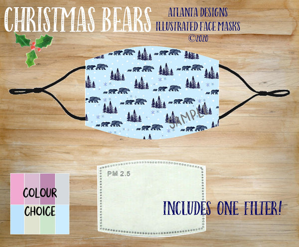 Face Mask With Filter - Christmas Bears