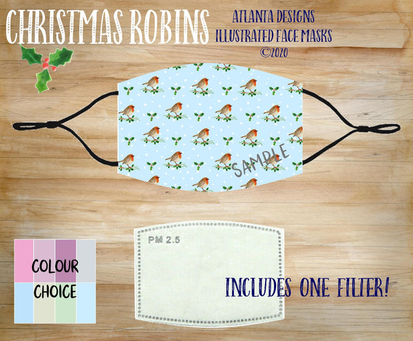 Face Mask With Filter - Christmas Robins