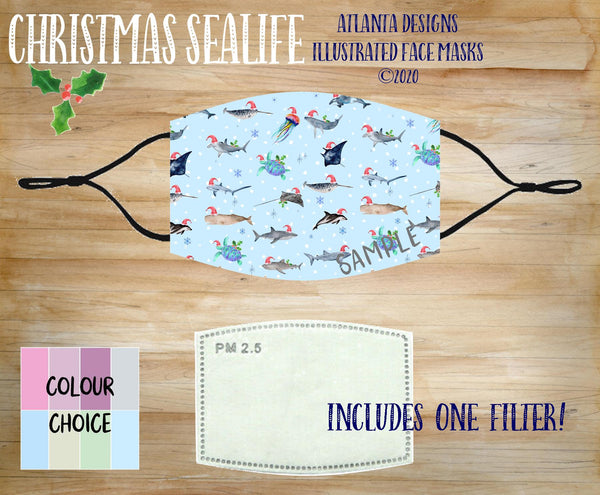 Face Mask With Filter - Christmas Sealife - Sharks & Whales
