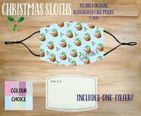 Face Mask With Filter - Christmas Sloths