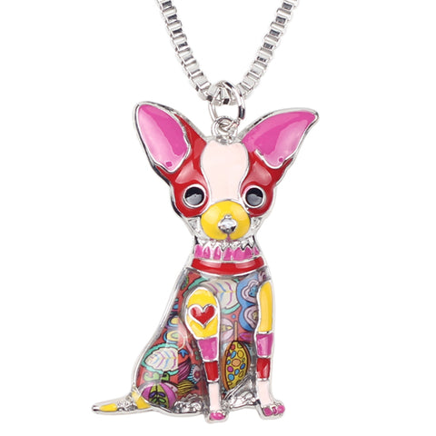 BONSNY MAXI STATEMENT METAL ALLOY CHIHUAHUAS DOG CHOKER NECKLACE