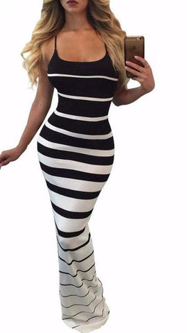 STRIPED MAXI DRESS SPAGHETTI STRAP