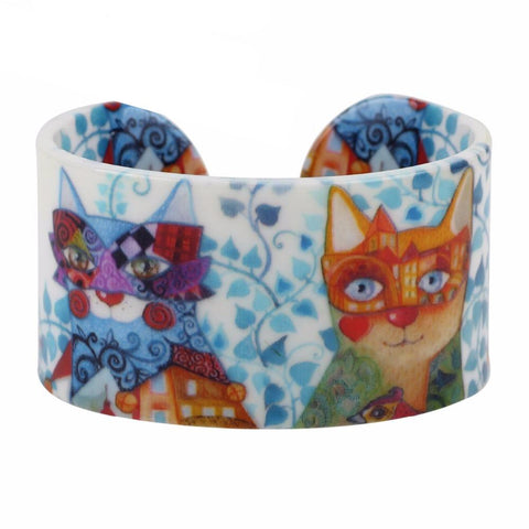 DESIGN PATTERN WIDE LOVE CAT BANGLES