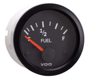 VDO Vision Illuminated Fuel Gauge, 240-30 Ohms, Black/Black