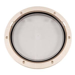 "Beckson 8"" Clear Center Pry-Out Deck Plate - Beige"