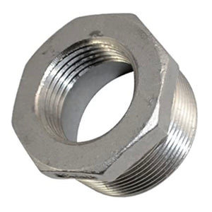 "2"" Male x 1.5"" Female Thread Reducer Bushing, Stainless Steel 304 NPT"