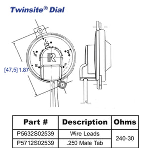 P5712S02539 Rochester Gauges Jr. TwinSite Dial Capsule (5712S02539P, 5-2539)