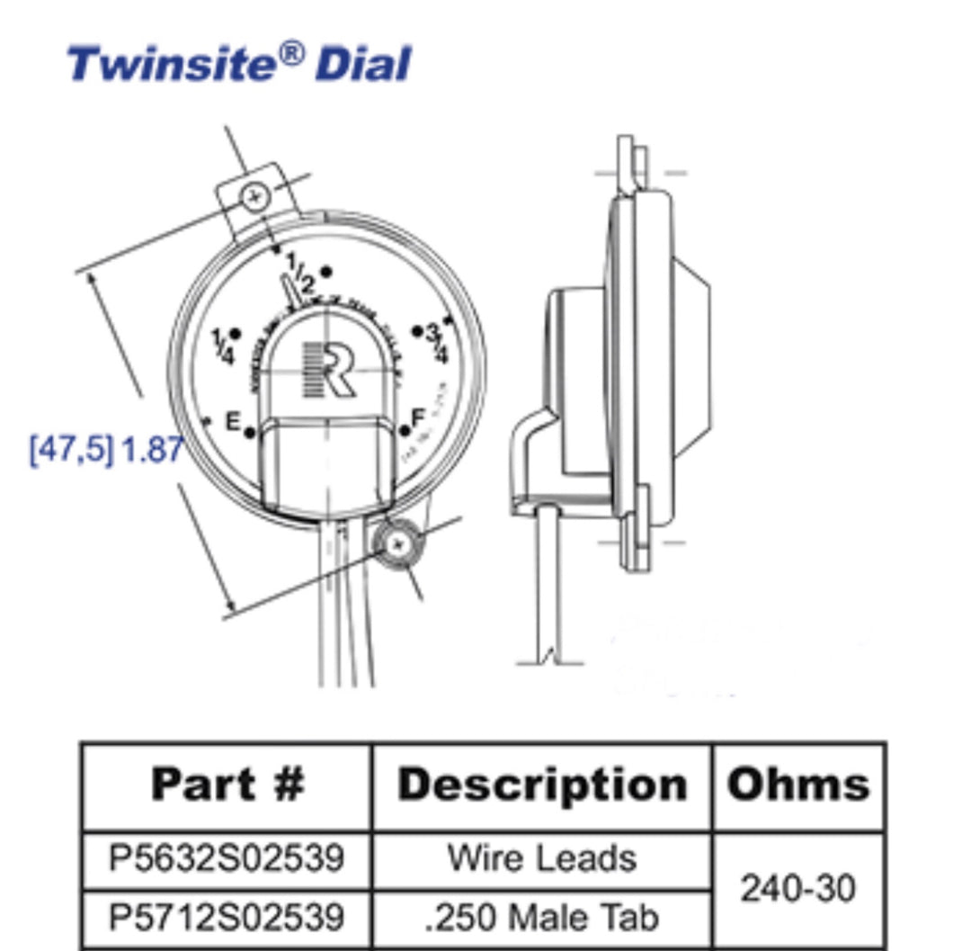 5632S02539P Rochester Gauges Jr. TwinSite Dial Capsule (P5632S02539, 5631S02539, 5-2539)