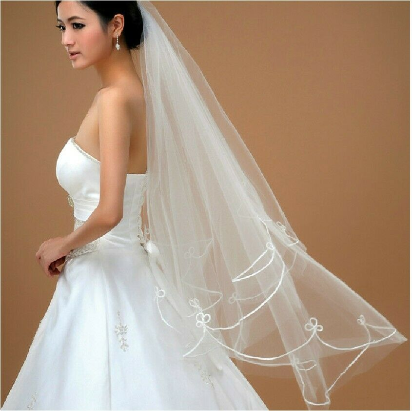 Simple Tulle Ribbon Edge Bridal Accessories Wedding Veil