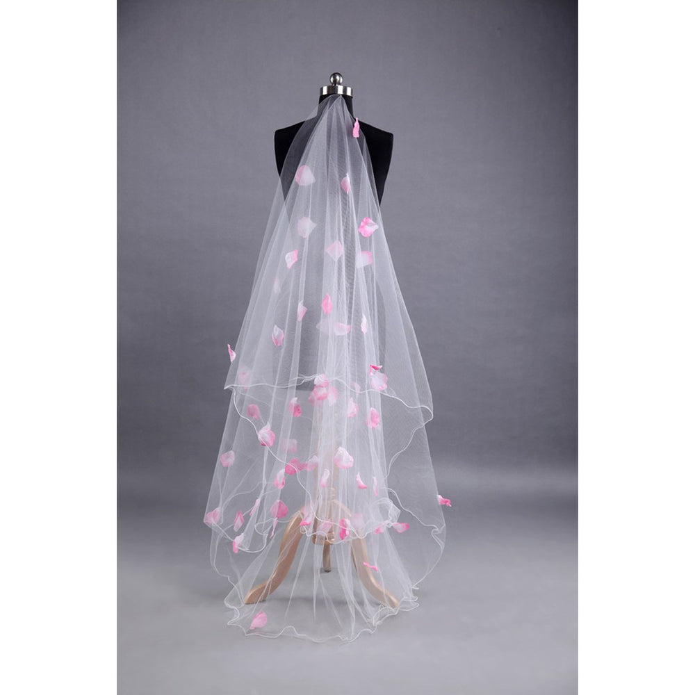 Romantic Wedding Veil with Pink Petals Decoration Veil Layers Tulle Ribbon Edge
