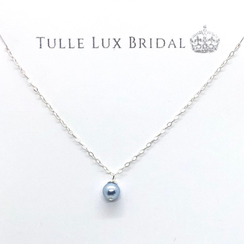 Satin Blue Pearl Necklace