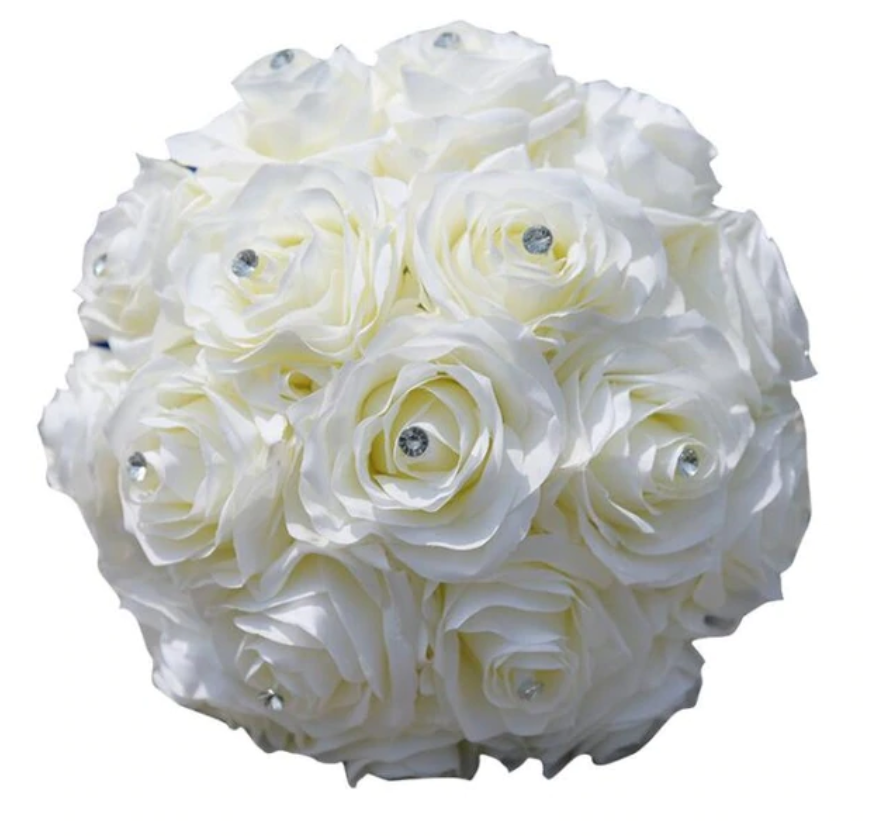 Artificial Silk Roes Bridal Bouquets Rhinestones Centerpiece Flowers For Weddings