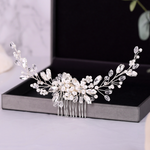Bridal Wedding Hair Jewelry Crystal Simulated Pearls Beads Hair Comb