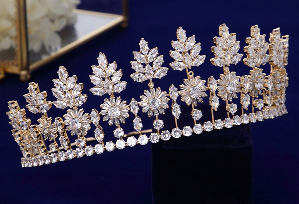Gold/Silver Full Zircon Crystal Brides Tiaras Crowns Wedding Hairbands Wedding Accessories
