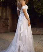 Tulle & Lace Off the Shoulder Appliques Princess Wedding Gown - TulleLux Bridal Crowns &  Accessories
